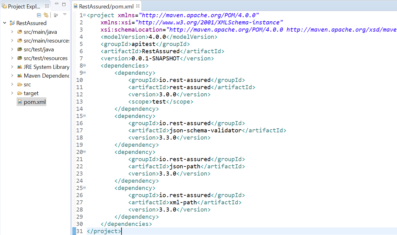 Setting up Rest Assured with maven dependencies in pom xml